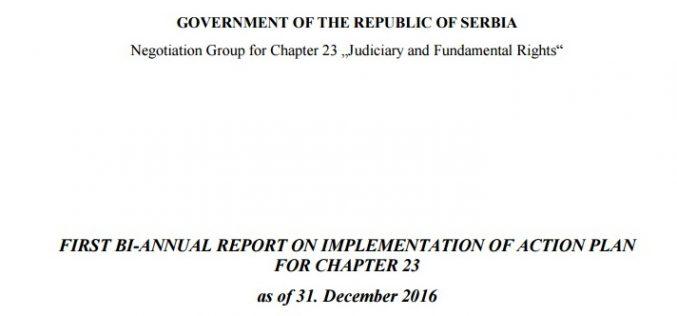 Izveštaj o sprovođenju Akcionog plana za Poglavlje 23