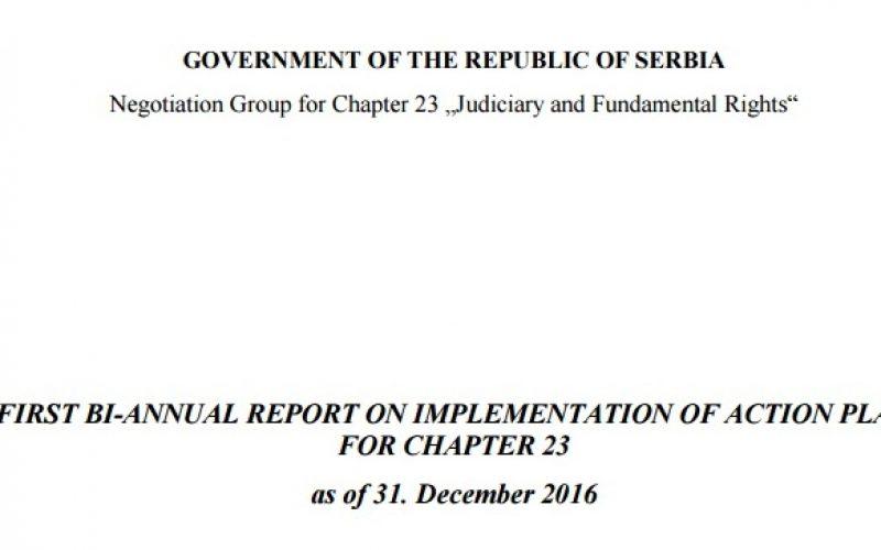 (Srpski) Izveštaj o sprovođenju Akcionog plana za Poglavlje 23