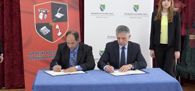 Potpisan Memorandum o saradnji između Bošnjačkog nacionalnog vijeća i Albanskog nacionalnog vijeća